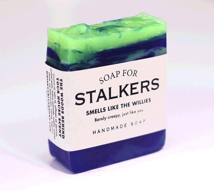 Soap for Stalkers | via Whisky River Soap Co. | ''Barely creepy, just like you.  Stalkers get a bad rap. It's not easy spending half the night perched on a flimsy tree limb holding up heavy binoculars in 40-degree temperatures. It's called commitment. Much like our commitment to soap. Dark and mysterious, our Soap for Stalkers looks a lot like your backyard at night when you're peeking out of your bedroom window because you heard a strange noise again.''