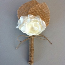$8 Rustic Boutonniere -Lace Boutonniere -Shabby Chic Wedding -Rustic Wedding -Burlap and Lace