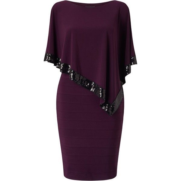 Adrianna Papell Plus Size Capelet Banded Dress, Plum Wine (236,325 KRW) ❤️ liked on Polyvore featuring dresses, purple maxi dress, women's plus size dresses, maxi dresses, plus size sequin dress and midi cocktail dress