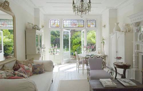 Open French living white floorboards