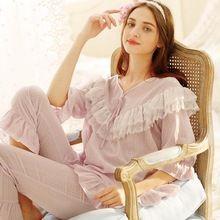 2017 lente licht paars zoete ruche kant prinses nachtkleding vrouwelijke katoen lange mouwen loungeset vrouwen pyjama sets AW306(China)