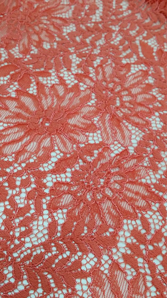 Dark Salmon Pink lace fabric. Both sides scalloped. Width: 150 cm/59.1 inches Item number: J773316 Price is set for one meter/yard. You will receive the fabric in one continuous piece if you purchase more than 1 meter/yard. IMPORTANT! Maximum one piece length of this lace is 2.45