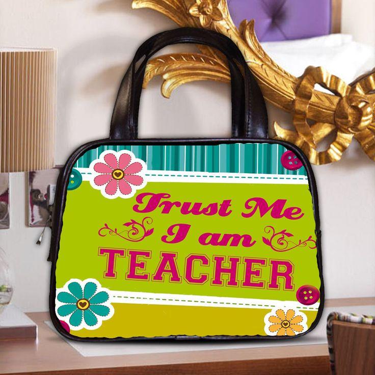 CLASSIC COSTUM BAG TRUST ME I AM TEACHER LEATHER HAND BAG  #HANDMADE