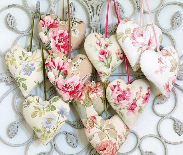 Rose fabric hearts
