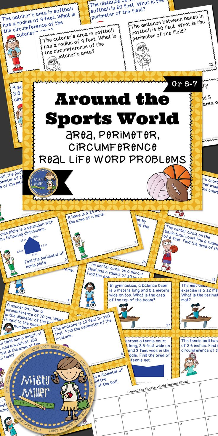 Real life sports math problems using area, perimater, and circumference. 24 Task Cards in both color and black/white included. $ gr 5-7