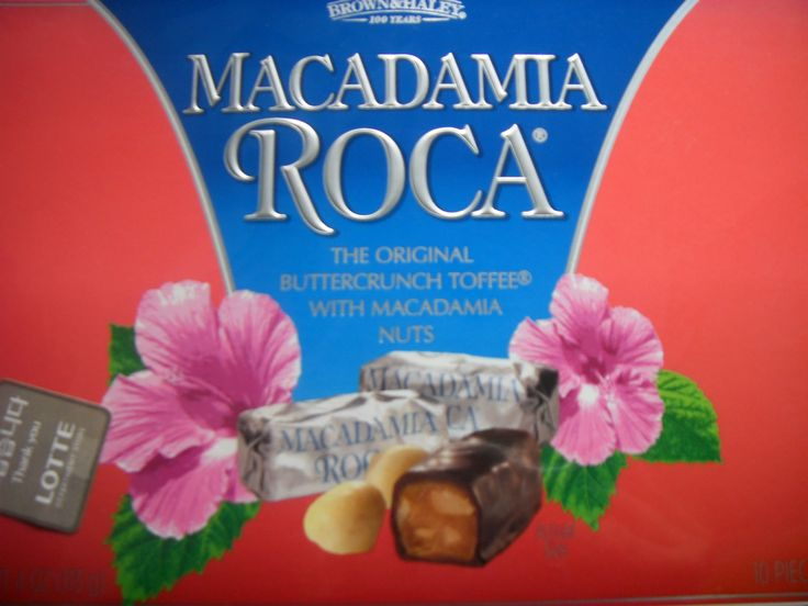 Lotte Department Store Macadamia Roca chocolate with solid caramel.