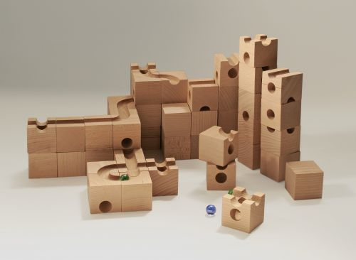Cuboro marble track system – a *fantastic* modular marble run. One of the packs includes magnetic pieces that draw the marbles up to higher levels, so they can keep going indefinitely!