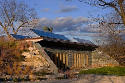 Solar, Carbon Neutral, Recycled Material, Partial In-Ground Home