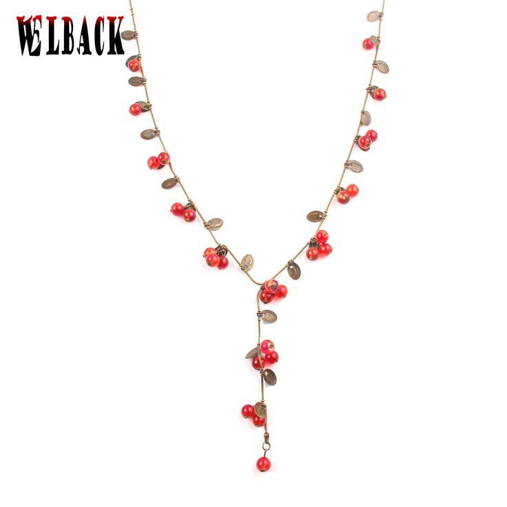 Мода Богема Бренд старинные Ювелирные Изделия для женщин прекрасные любовные чувства Милый маленький вишневый длинное ожерелье женщина 2016