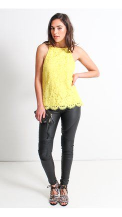 Scallop Lace Top Yellow-Pagani $44.99