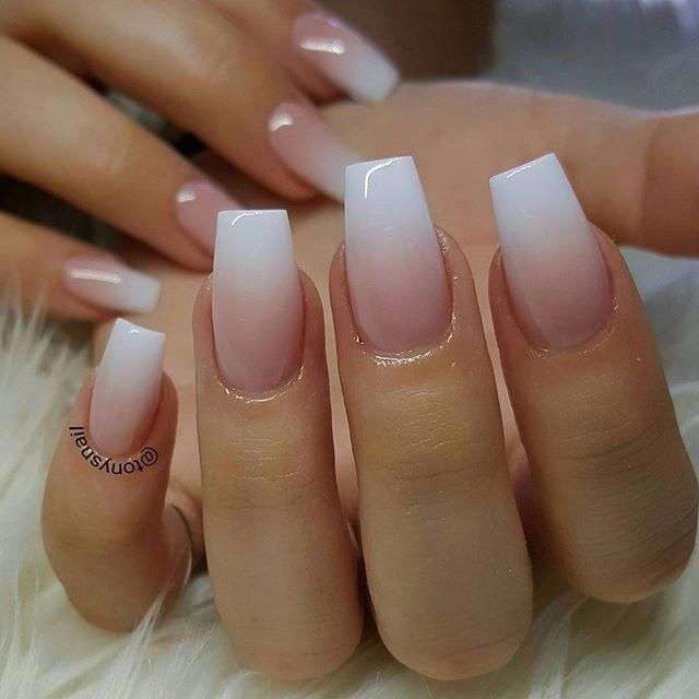 White Pink Ombre Acrylic Fingernails Manicure French Tip