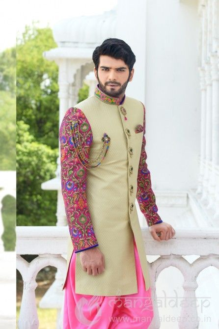 Divine Cream Jaqucard Indo Western Suit. For more information :- Call us @+919377222211 (Whatsapp Available)