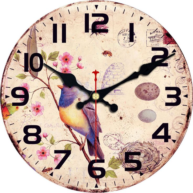 Owl Large Magpie Decorative Round Birds Wall Clock Living Room Decor Saat Fashion Silent Vintage