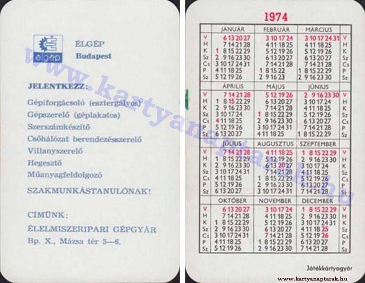 1974 - 1974_0748 - Régi magyar kártyanaptárak