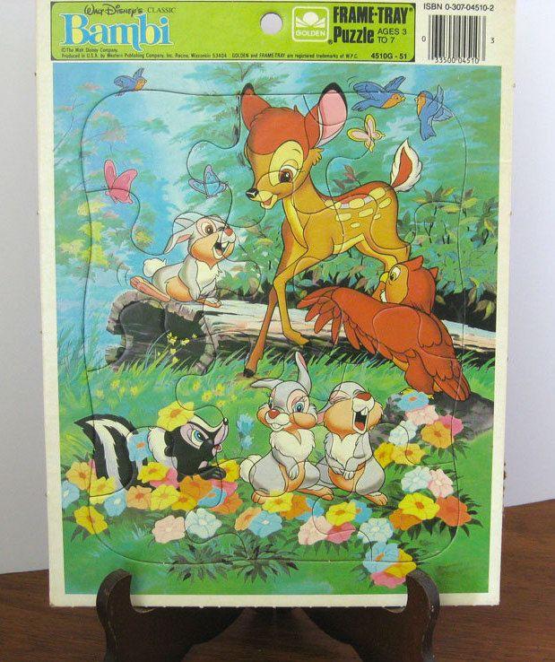 Vintage Puzzle Frame Tray Bambi Walt Disney 1980