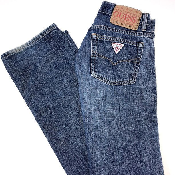 Guess Slim Straight Leg Jeans Mens Size 31 X 32 Low Rise Dark Distressed Wash