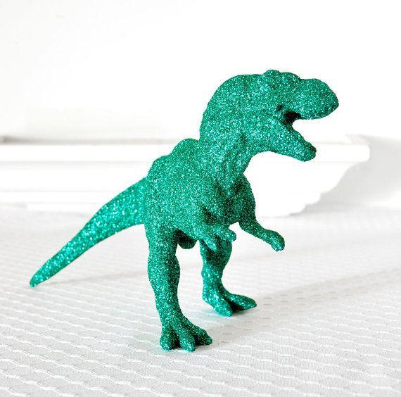 glitter.  dinosaur.
