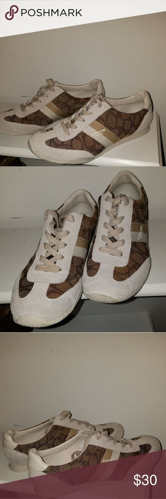 Coach tennis shoes Coach tennis shoes. EUC. In very good condition! These are an exact 8.5, if you run between an 8.5 and 9 they may be to tight. Coach Shoes Sneakers