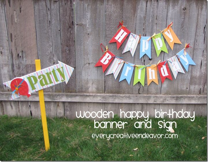 Every Creative Endeavor: Wooden Happy Birthday Banner and Party Sign + Giveaway