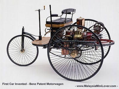 First car invented: Benz Patent Motorwagon.  Karl Benz invented this car in 1885 and unveiled it in 1886 as the first petrol powered car.