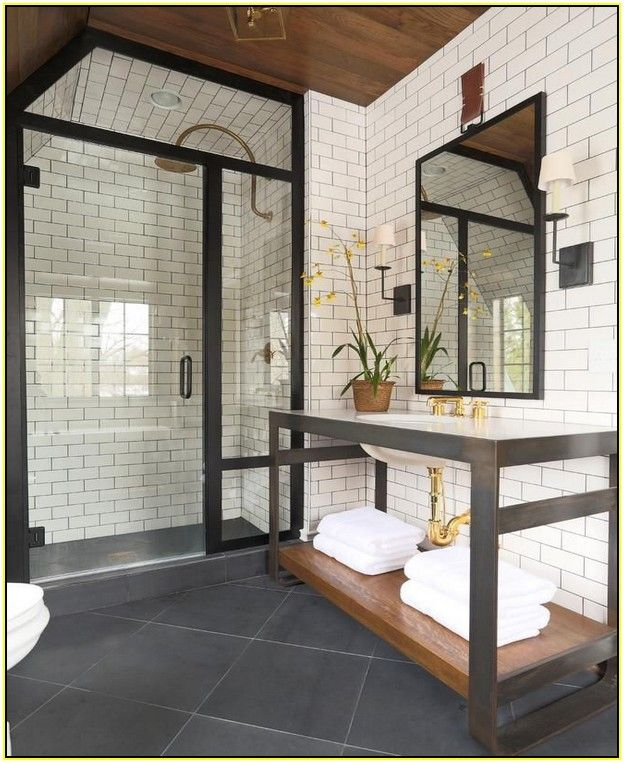 White tile dark grout wall tile in kitchens with gold - Dark tile bathroom floor ...