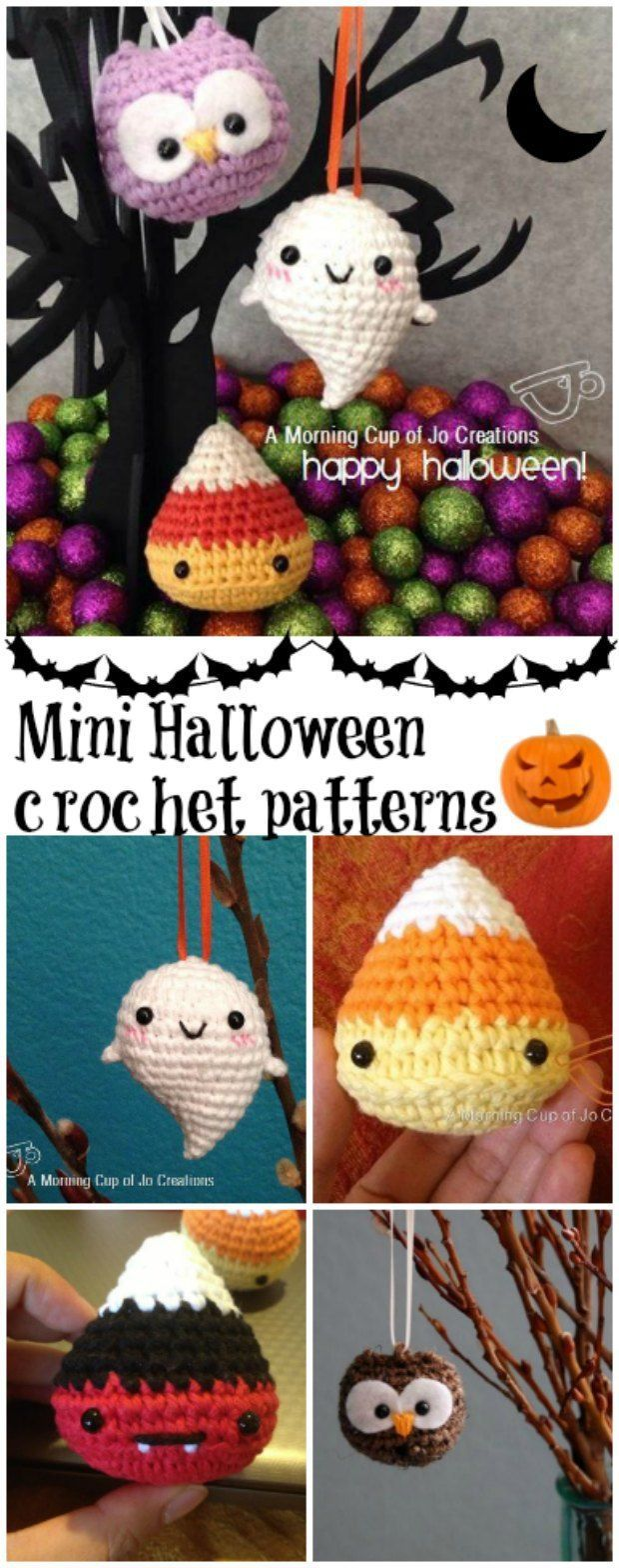 3 free mini Halloween crochet patterns. Candy corn pattern, baby ghost pattern and a baby owl.