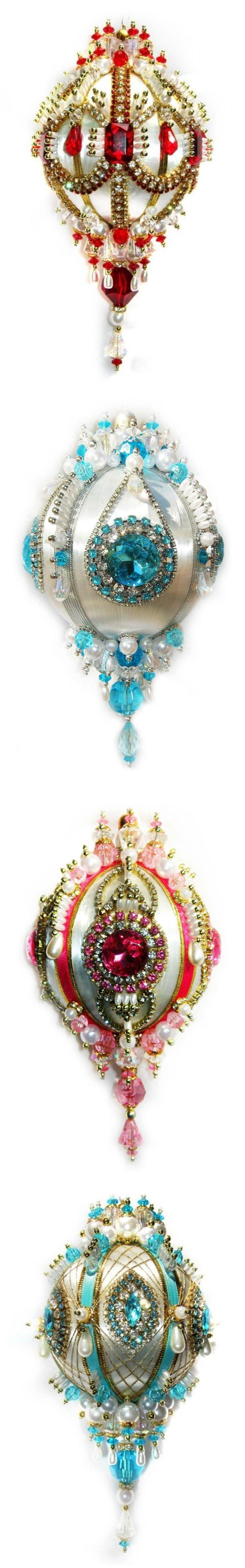 Prett satin Christmas ornaments with beads, sequines, rhinestones, ribbon trim etc. - julekugler - rigtig smukke
