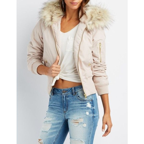 Charlotte Russe Faux Fur Hooded Bomber Jacket ($25) ❤ liked on Polyvore featuring outerwear, jackets, blush, style bomber jacket, fleece-lined jackets, zip bomber jacket, zipper jacket and charlotte russe jackets