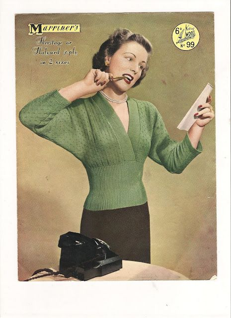 Vintage Knitting Patterns styles from the 1940's to 1950's. Dolman sleeve, V-neck, snug fit
