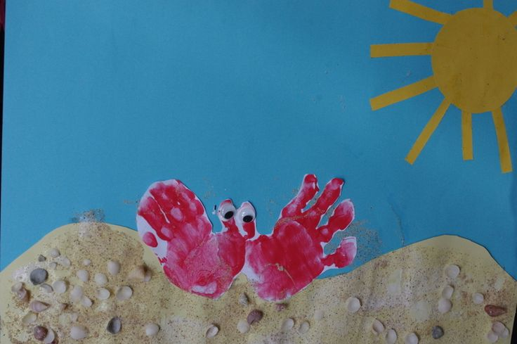 C is for Crab - Today we used our hands to make crab prints, added eyeballs, stuck it on some sand and shells and pasted a sun to finish the collage off