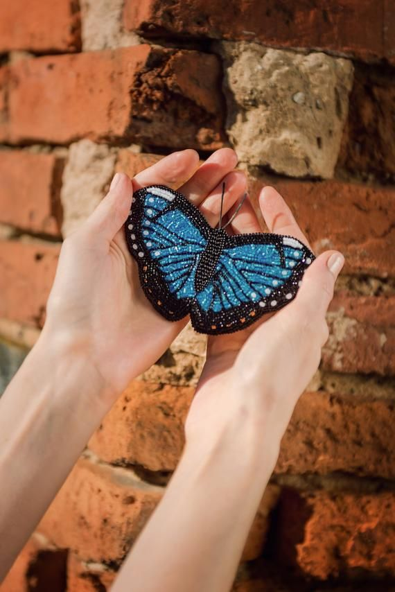 2e434398294 This big realistic blue butterfly brooch is embroidered by hand with seed  beads and Swarovski ...
