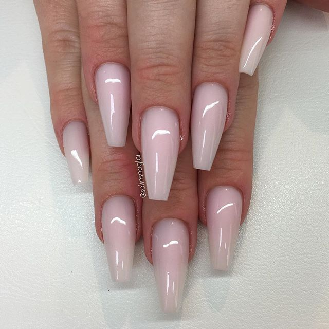 Frosted Pink ballet tip nails