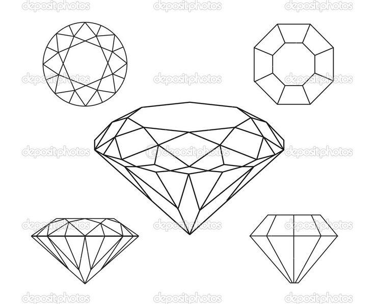 diamants filaire sur fond blanc - Illustration: 10249716