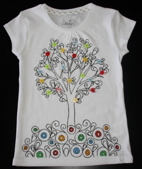 camiseta pintada a mano con aplicaciones camiseta pintada a mano con aplicaciones fieltro telas botones,abalorios pintura textil,puntillas l...