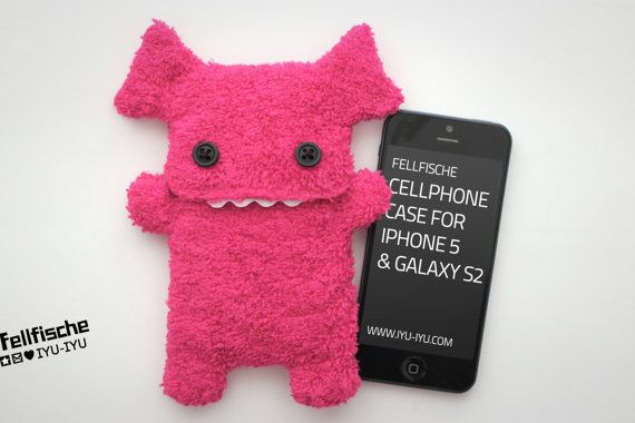 Fluffy Cellphone Case for iPhone 5 & Galaxy S2 - Fellfische - Pink on Etsy, $35.40