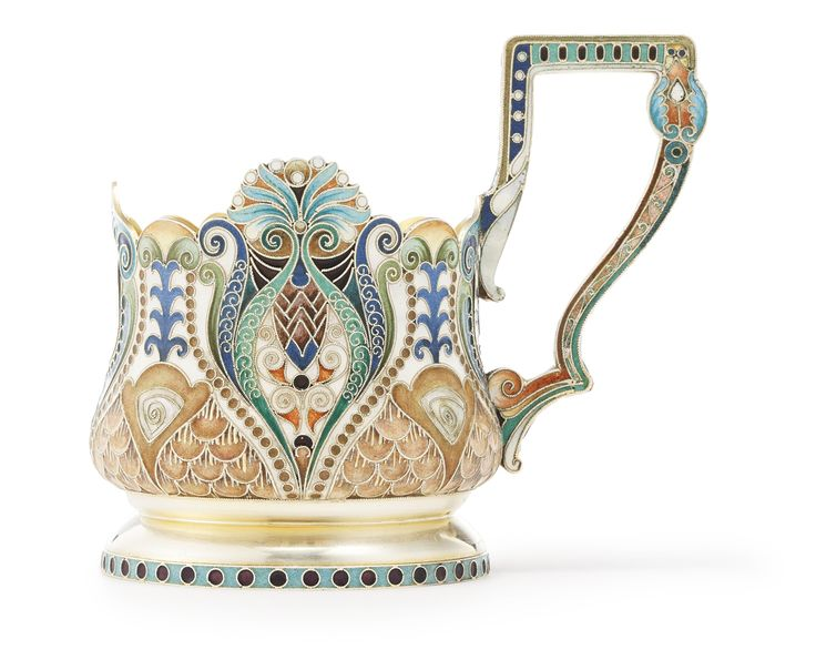 A Russian gilded silver and shaded enamel tea glass holder, Khlebnikov, Moscow…