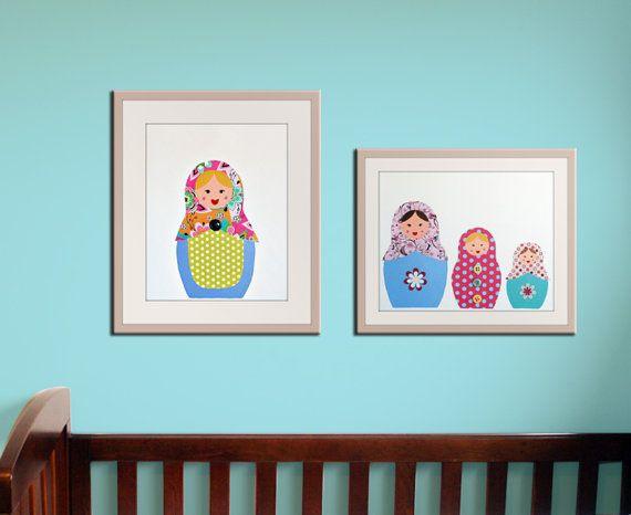 Girl nursery art print. Matryoshka Dolls Print. Set of 2-11x14 Babushka, Russian Dolls. Child baby artwork, kids wall art rooms