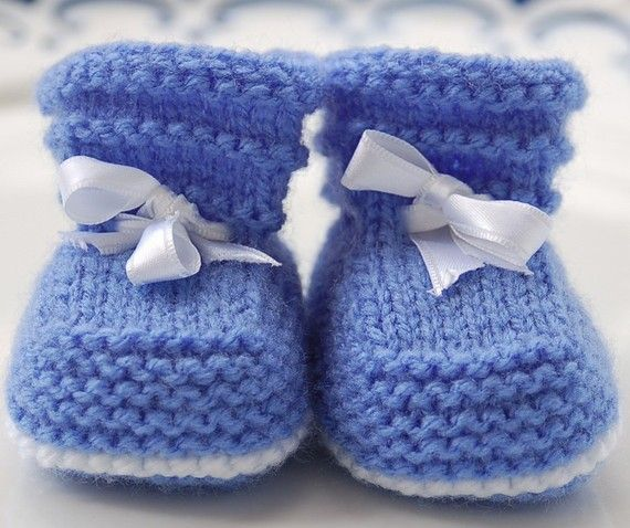 easy baby booties to knit | Easy Baby Booties PDF KNITTING PATTERN (1-3, 3-6 and 6-12 months)