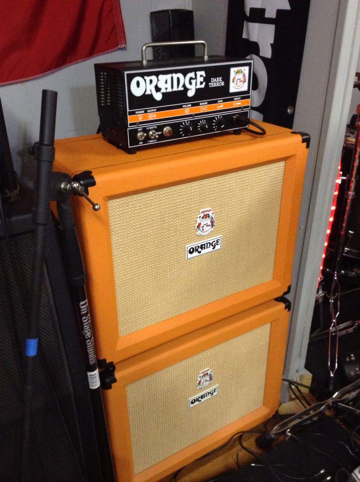 Orange Dark Terror and two 1x12 cabs make a killer half size stack of doom! RNA MUSIC in Canton, Texas USA! Orange Amp Dealer!
