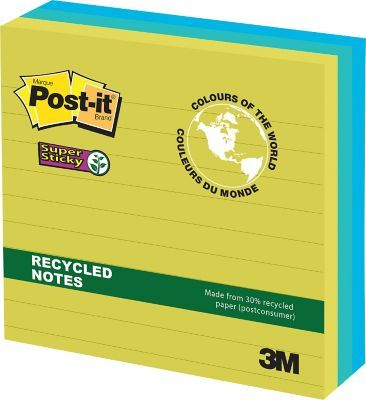 """Shop Staples® for Post-it® Super Sticky Recycled Notes, Bora Bora Collection, 4"""" x 4"""", 90 Sheets/Pad, 3/pack"""