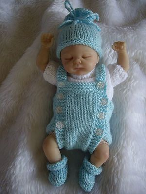 """HAND KNITTED DOLLS CLOTHES FOR 10-11"""" OOAK -REBORN BABY"""