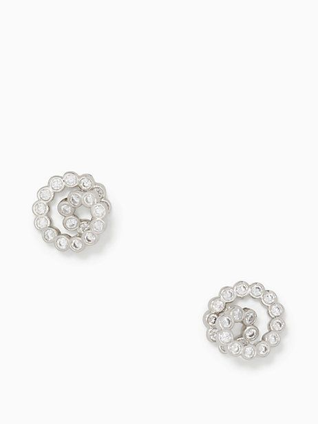 Kate Spade Glitz And Glam Spiral Studs, Clear/Silver