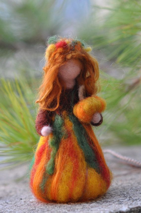 Needle Felted Waldorf Wool Fairy-Autumn-needle felt by Daria Lvovsky