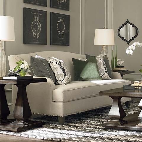 Bassett Biltmore Sofa, Tight Back With Nailheads On Tapered Legs