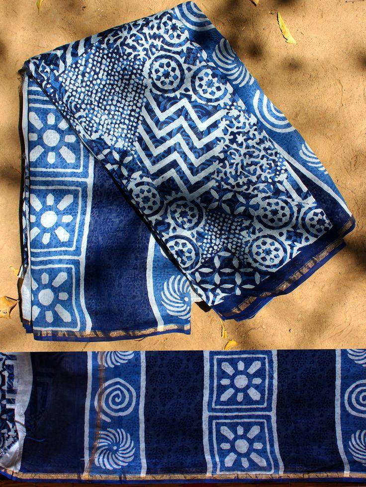 Dabu-Indigo Block Printed Saree with Blouse. #indigosaree #indigosari