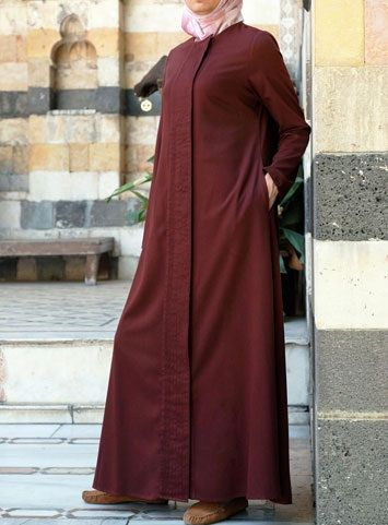Pleated Front Jilbab Save 36% Maroon color  It's all about the details with this updated version of our classic jilbab style. The delicately pleated front panel adds instant intrigue and a hint of flair to this sumptuously soft bamboo rayon and cotton blend. Easily dressed up or down, you'll find this jilbab perfect for any occasion.