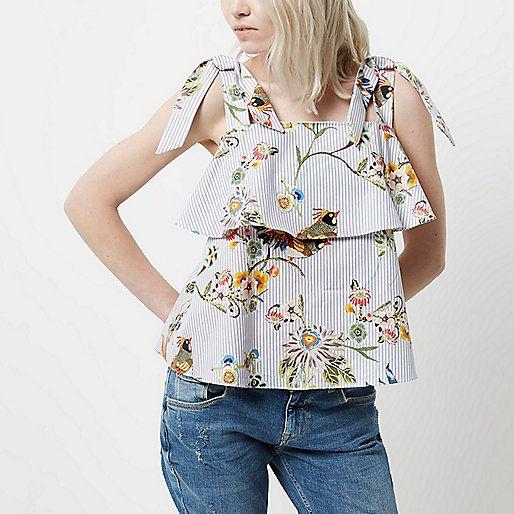 RI Petite - Blauw gestreepte top met bloemenprint en strik op de schouder - cami / mouwloze tops - tops - dames