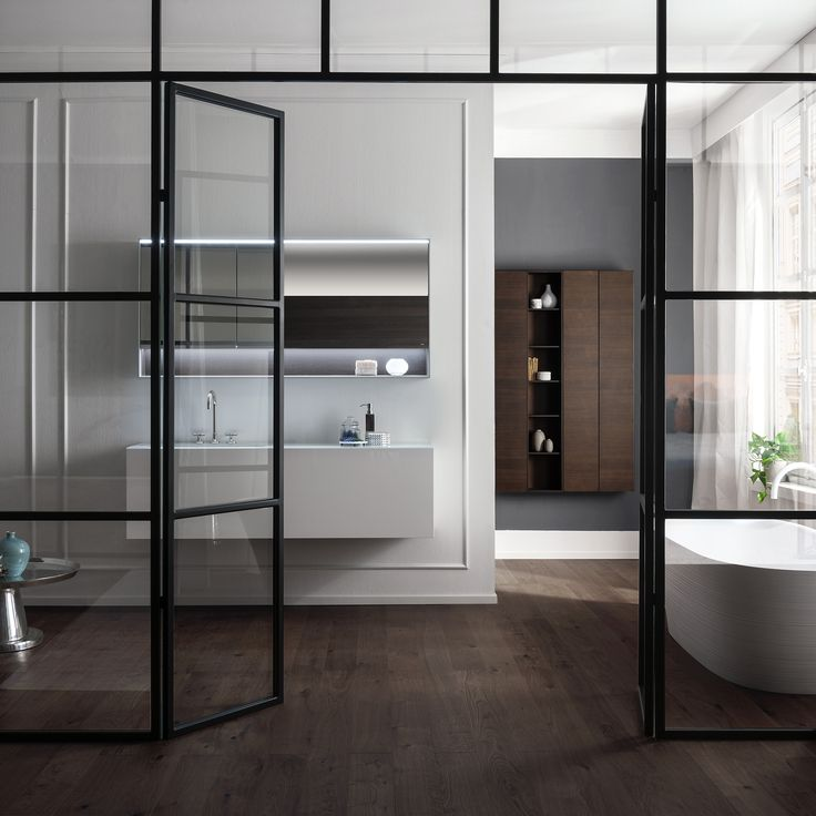 Cross the threshold of a brand new concept of bathroom. VIAVENETO ELEMENTS composition with double drawer base and milled handle in gloss White lacquered finishing, and integrated white polished glass top. Discover more on www.falper.it