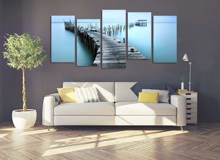 The Broken Pier On The Lake Multi Panel Canvas Print