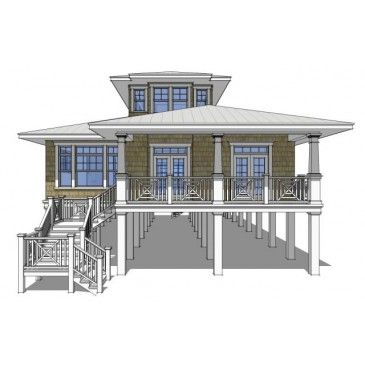 House plan dt0068 sea oats beach for Island house plans on pilings